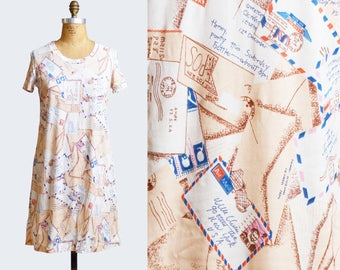 Vintage 70s Huk A Poo Shirt Dress / 1970s Silky Novelty Letter Print Mini Dress m