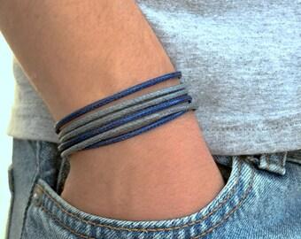 Mens Multilayer Bracelet, Triple Wrap Bracelet for Men,  Blue Gray String Bracelet , Man Cord Bracelet , Gift for Men , for Husband