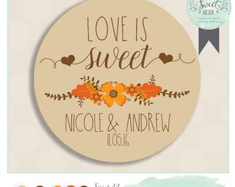"wedding favor sticker. Color of Choice. Size 2"" Round. LOVE IS SWEET. Nicole collection, orange and brown, autumn personalized sticker"