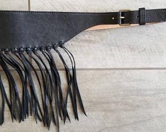 Ladies fringe black leather belt