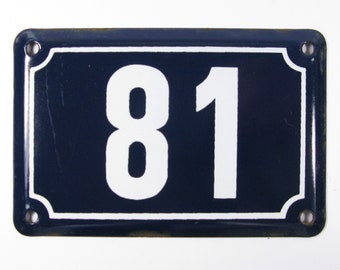 House Number Plate No. 81, Original Enamel French Blue and White, Old French House Number, Enamel House Number (344)