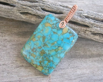RESERVED for Pam Mosaic Pendant Necklace, Turquoise Magnesite Pendant, Rectangular Pendant, Minimalist Necklace, Blue Gemstone, Wire Wrapped