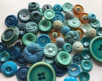 Vintage Plastic Buttons Aqua Turquoise and Teal Blue Variety
