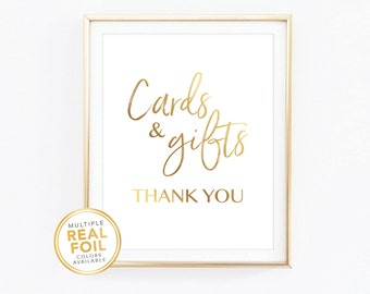 Cards and gifts wedding sign decor, Gold Foil, Real Foil Print, Silver foil, Wall Art, hashtag, 001