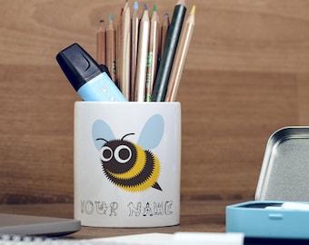 Personalised Bee Cute Animal Children Customizable Pencil Pot, Pencil Holder, Pen Pot, Pen Holder, Gift Idea, Children Gift, PPC042