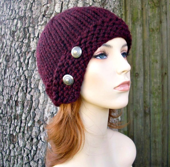 Knit Hat Red Womens Hat - Cloche Hat in Burgundy Oxblood Red Wine Knit Hat - Red Hat Burgundy Hat Red Beanie Womens Accessories Winter Hat