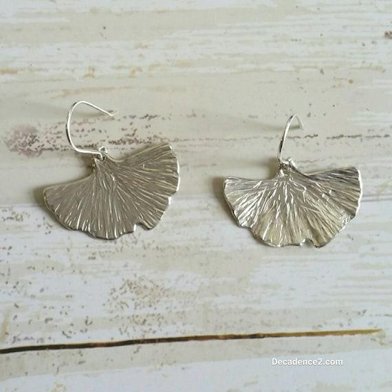 Sterling Silver Ginko Leaves Dangle Earrings