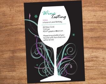 Wine Glass Rock Custom Printable Party Invitation