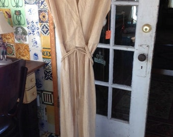 70's tan fringed jumpsuit, NOS