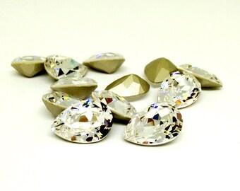 Swarovski Teardrop Rhinestone, 4320 Tear Drop Crystal Clear, 14x10mm Faceted Pear Stone, Embellishment,Jewelry Supplies, Pear Shaped,YC7742A