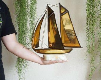 Large Vintage Brass Sailboat with Alabaster Onyx Base