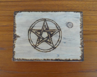 Wooden Plaque with Pentacle or Labyrinth, Lovely Altar Piece. Maze, Magic Symbols, Paperweight,