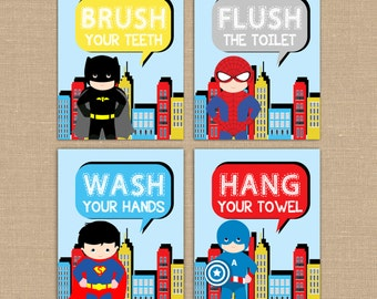 Superhero Bathroom signs. Spiderman Superman Captain America Batman Superheroes. Flush Wash Hang Brush bathroom signs. Kids Bath PRINTABLES