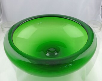 Mid Century 1950s Danish Holmegaard Large Green Glass Provence Bowl Designed By Per Lütken