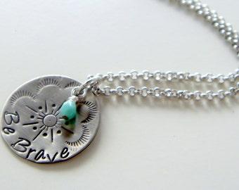 Be Brave necklace | everyday necklace | hand stamped charm necklace | Layering necklace | boho pendant | Inspiration jewelry | motivational