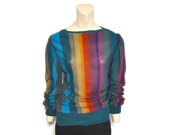 Vintage 1980's Multicolor Vertical Stripe Sweater Retro 20Ans Mariea Kim Size Medium Women's Lightweight Sweater Thin Pullover Top Rainbow