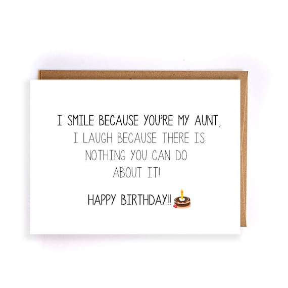 Funny happy birthday card for aunt blank greeting cards cute bookmarktalkfo Gallery