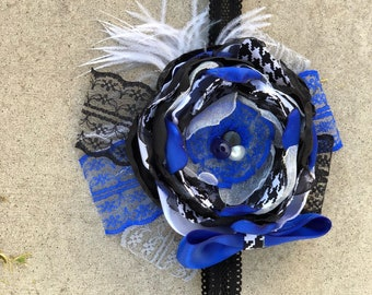 Blue Jay Houndstooth Flower Silk Bow Girl's Headband and Broach upon request!