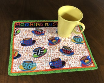 Coffee Theme Mug Rug, Quilted Snack Mat, Handmade Morning Rush Hour Mini Placemat, Luncheon Mat, Mini Quilt, Mugrug, Mouse Pad