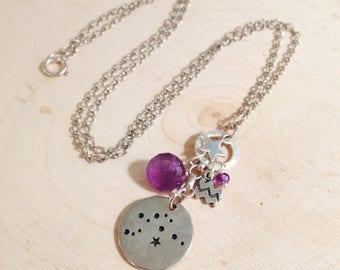 Aquarius Constellation Necklace with February Birthstone Amethyst