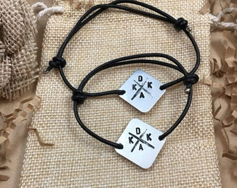 Couples, Matching Stamped Bracelets, 2 Bracelets, Aluminum Disc with Stamped Initials and adjustable leather cord, his and hers, set