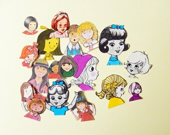 Childrens faces, Girls, Colour, Vintage  paper cut outs, die cut style, pen pal, journaling,  scrapbooking, snail mail, embellishments PE358