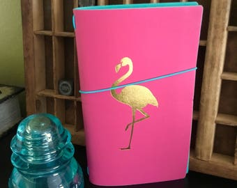 PINK & GOLD FLAMINGO Travel Journal Traveler Notebook Travelers Note Book Planner, Elastic Band, Foiled Insert Recollections Tropical Life