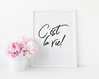 C'est La Vie Quote Art Print - Motivational Quote - Quote Wall Decor - Minimalist Poster - Inspirational Art Print - Minimalism Quote