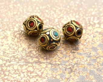 Tibetan Beads, Nepal Beads, Brass Inlay Bead, Turquoise Inlay, Coral Inlay, Handmade Beads, Tribal Beads, Brass Mosaic Bead, 5 Beads, 13622