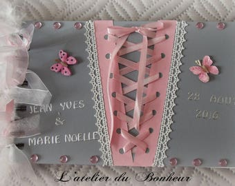 Guestbook gray and pink with butterfly and lace