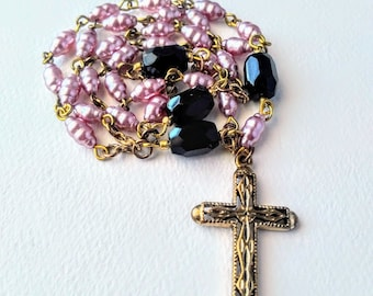 Light Lavender Rice Pearl Anglican Rosary / Protestant Rosary / Prayer Beads