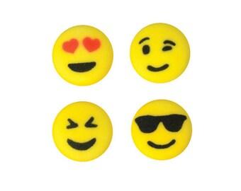 Emoji Cupcake Toppers, Emoji Sugar Decorations, Assorted Emoji Sugars