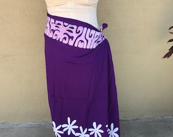 purple, light purple and white tattoo tiare premium Tahitian pareo Full or half sized, Tahitian costume skirt
