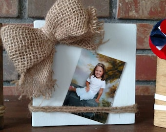 Mother's Day Gift - Wood Block Picture Frame - Reclaimed Wood Frame - Rustic Wood Picture Frame - Wood block Card Holder