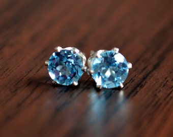 Real Swiss Blue Topaz Stud Earrings, 5mm Sterling Silver Ear Posts, Bright Blue, Gemstone Jewelry, Simple Studs, Free Shipping