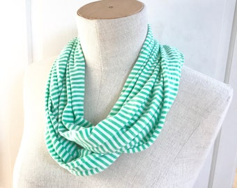SALE Jersey Knit Infinity Scarf. Kelly Green and White Stripe. Great Layering Scarf.