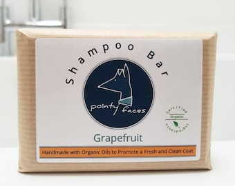 Organic Grapefruit Dog Shampoo Bar to Freshen and Clean. Natural Soap for Dogs. 160g / 5.64 oz Large