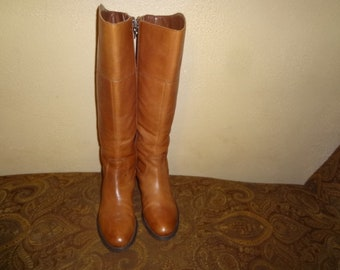 Brown Leather Etienne Aigner Knee Boots 7 1/2M