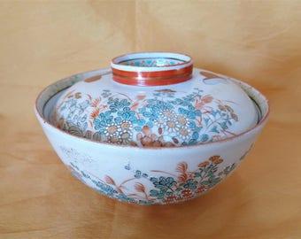 E0122 : Rare Antique Japanese Kutani porcelain covered bowl ,Hand painted