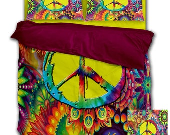 SALE! SALE! SALE! Groovy Peace Sign Duvet Cover with Pillowcases Bedding Set!