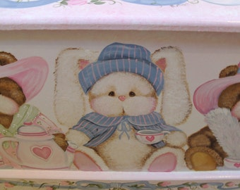 Teddy Bear and Bunny Tea Party Toy Box, personalized kids room decor, wooden toy chest art and decor