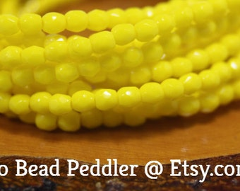 3mm Czech Firepolish, Faceted Round, 50 Beads, Bright Yellow