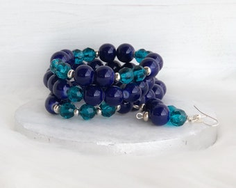 Navy blue and teal beaded bracelet and earring set - Blue beaded stretch bracelet set for women - Navy and teal bracelet set