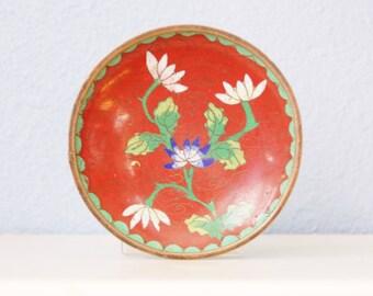Vintage 1930s Cloisonne Dish Vintage Chinese Enamel Flower