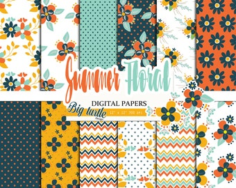 60% OFF SALE! Summer Floral digital paper pack, vintage digital paper, Flower digital paper, Scrapbook Paper, Printable Background, 12 JPG.