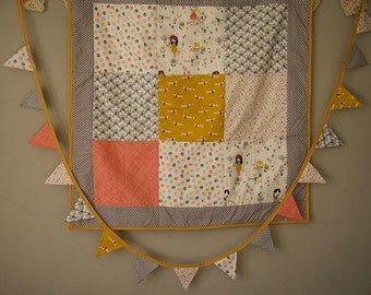 Handmade Baby Quilt And Matching Bunting Set. Baby Play Mat//  Crib Blanket// Baby Shower Gift// Baby Room Decor// Baby Bunting.