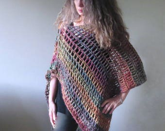 "Easy Crochet Poncho PATTERN / Asymmetrical Poncho / Shawl Wrap / Beginner PDF / Made in Canada / ""Fiesta Poncho"""