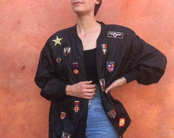Vintage 1990s Black Members Only style women's jacket with custom patches. OOAK 90s coat 90s women's jacket