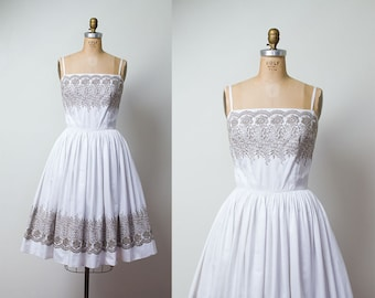1950s Sundress / 50s Embroidered Cotton Dress