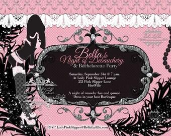 Bachelorette Party Invitation, Bachelorette Burlesque Invitations, Lingerie Shower Invitations